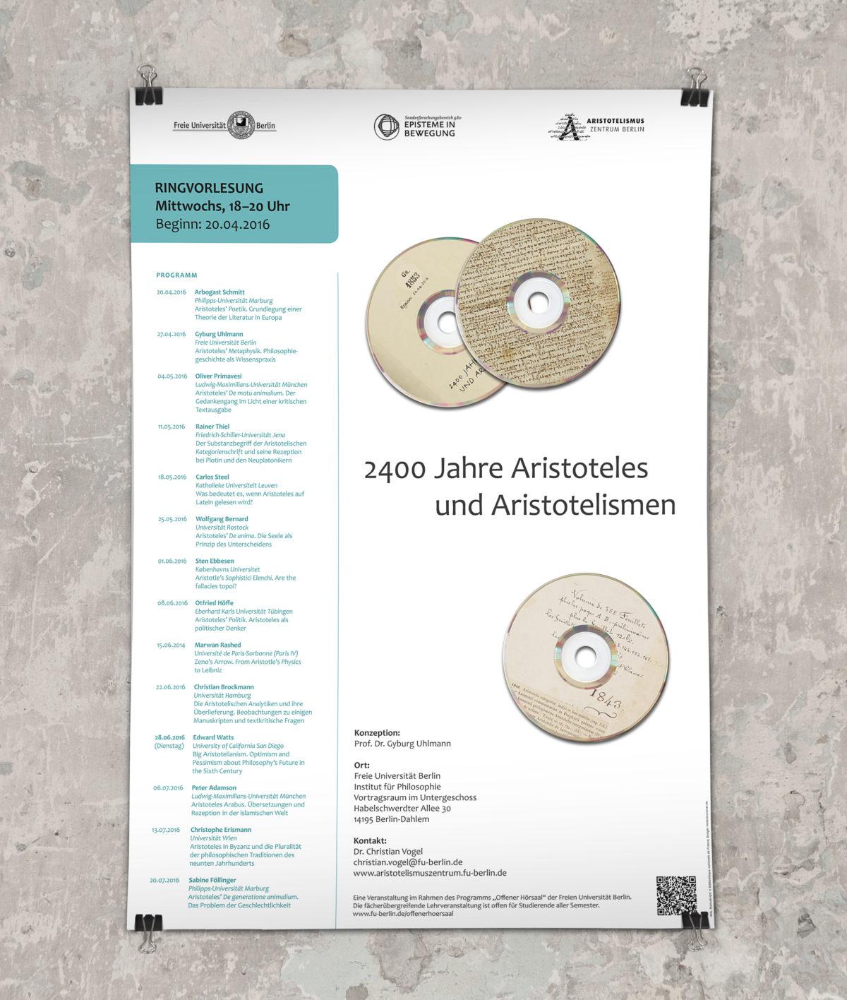 """Poster für die Ringvorlesung """"2400 Jahre Aristoteles und Aristotelismen"""", Freie Universität Berlin"""