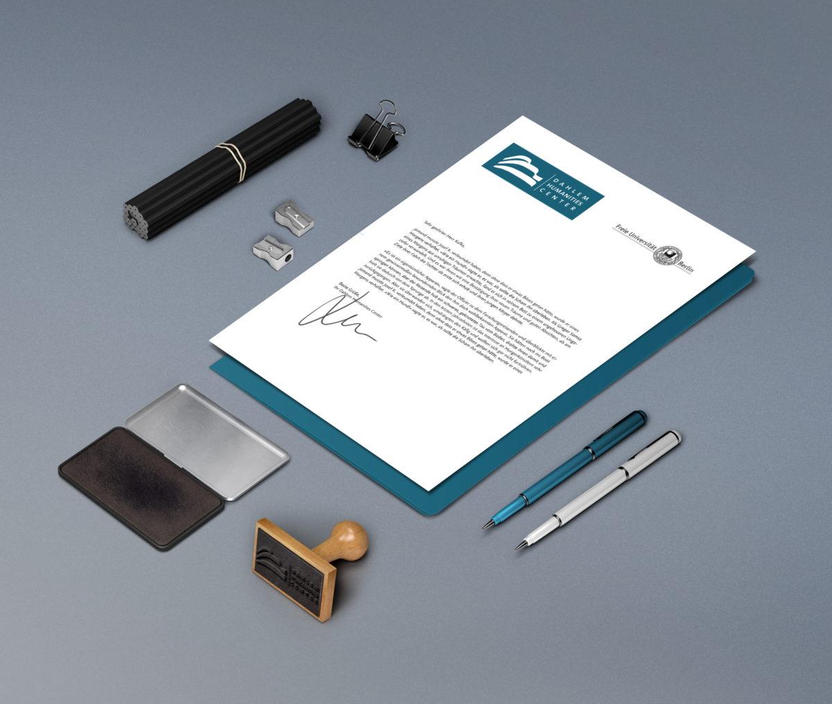 Briefpapier, Logo Re-Design für Dahlem Humanities Center, Freie Universität Berlin