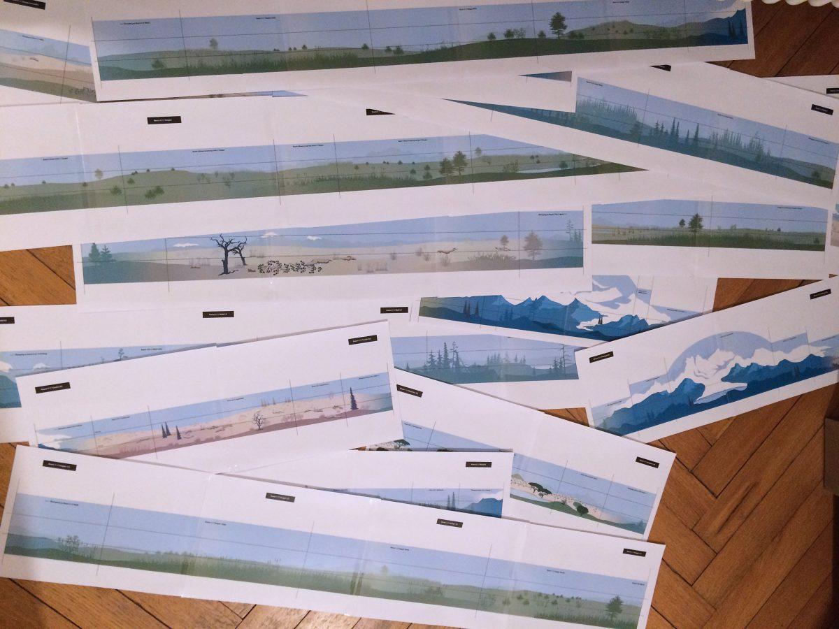 """Ausdrucke der Entwürfe für die Ausstellung """"Eiszeitsafari"""" im Landesmuseum Koblenz"""
