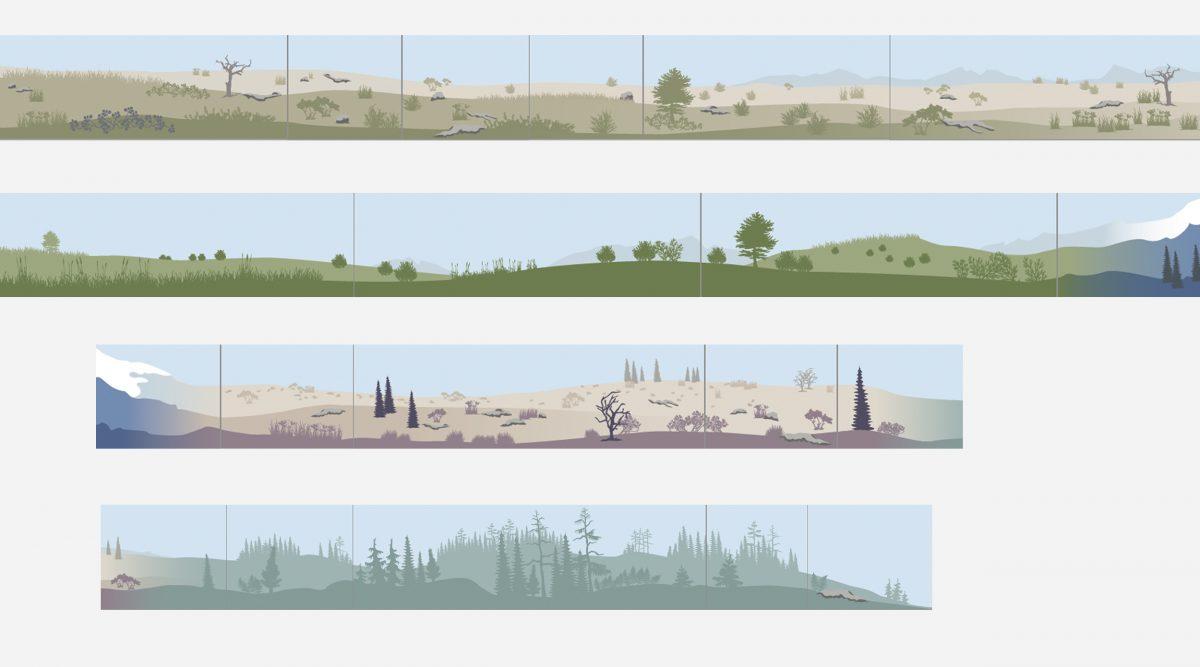 """Entwürfe der Wandbemalung für die Ausstellung """"Eiszeitsafari"""" im Landesmuseum Koblenz"""