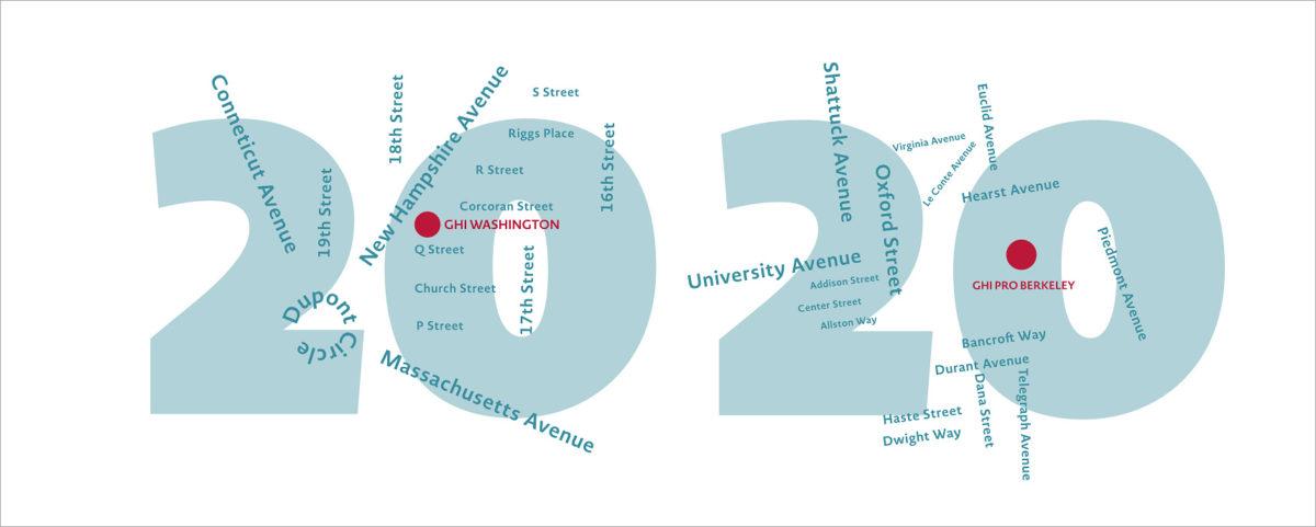 Neujahrskarte 2020 für das German Historical Institute in Washington und Berkeley, Detail der Zahlen mit Stadtplan