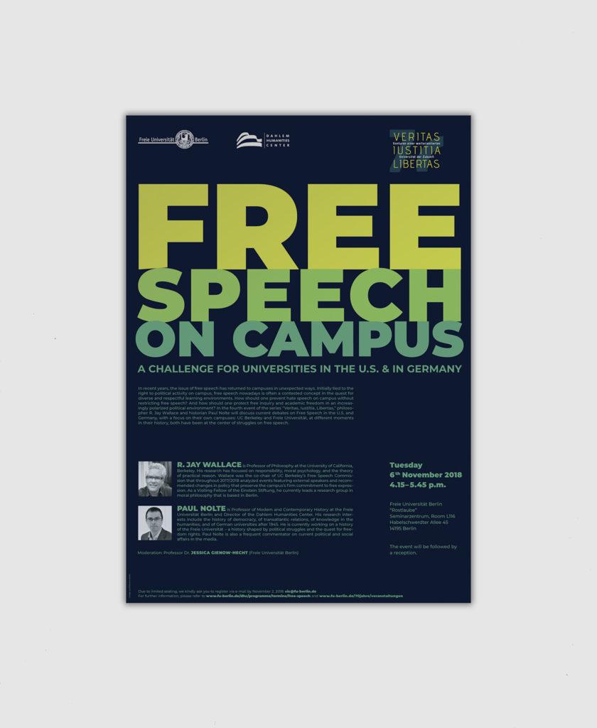 """Vorschaubild, Veranstaltung zum 70. Jubiläum der Freien Universität Berlin, Free Speech on Campus, Ringvorlesung """"Veritas Iustitia Libertas"""""""