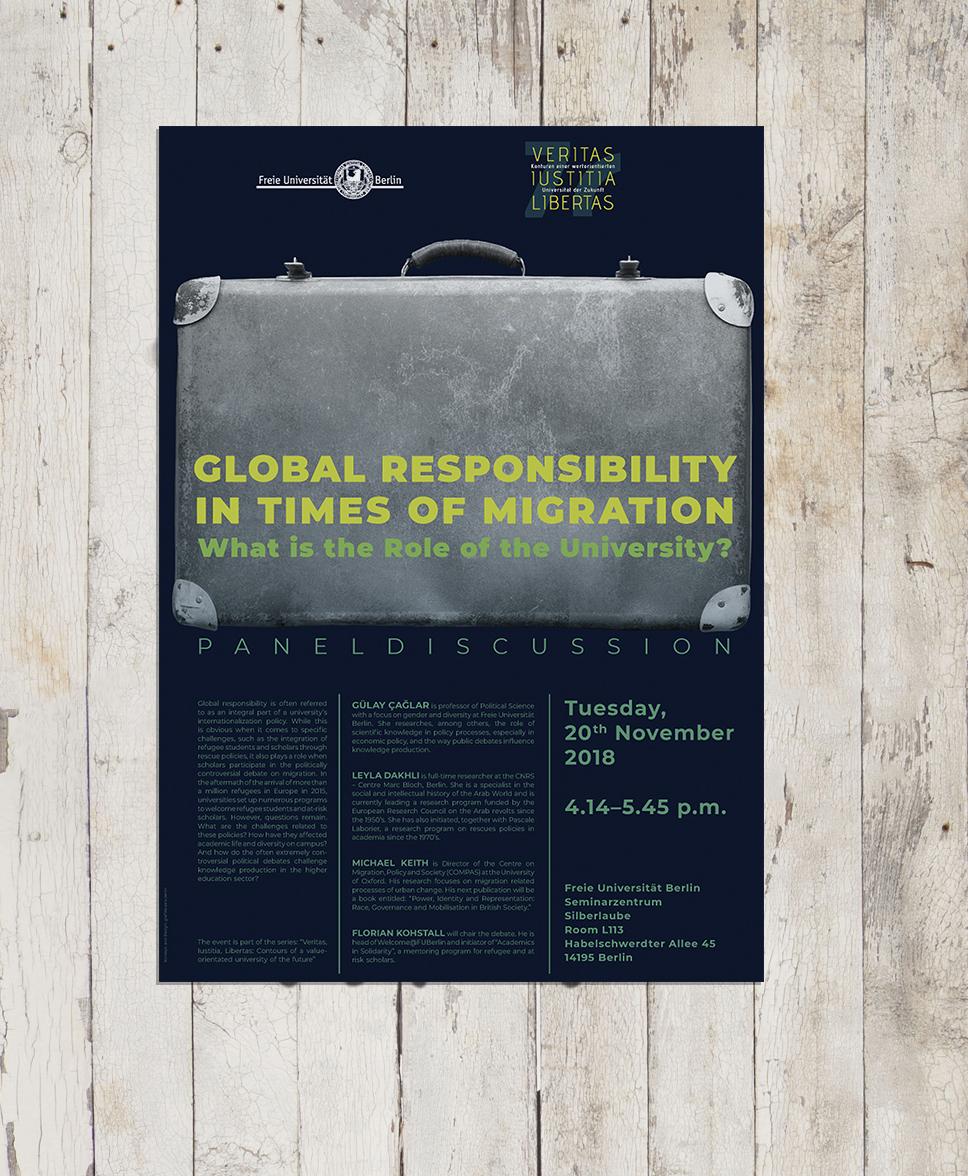 """Poster für eine Veranstaltung zum 70. Jubiläum der Freien Universität Berlin, Free Speech on Campus, Ringvorlesung """"Veritas Iustitia Libertas"""""""