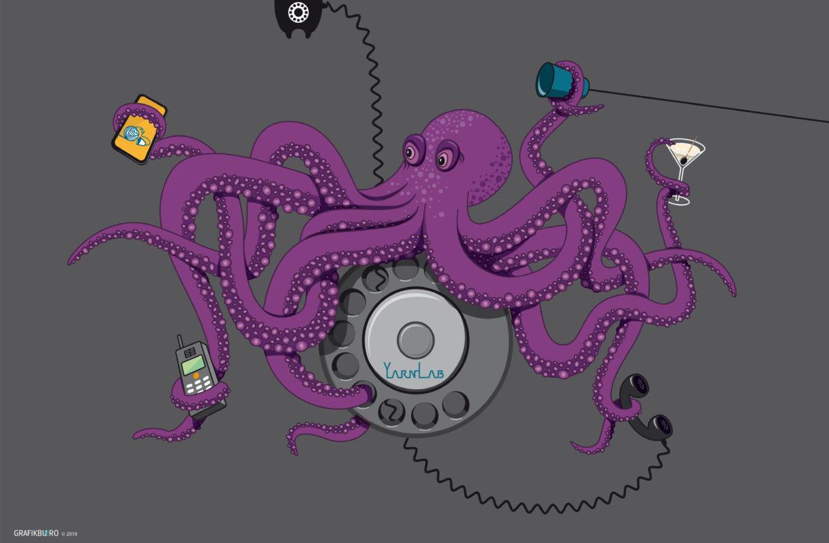 Illustration eines Octopus für die Bürowand von YarnLab, Octopus, Telekommunikation,