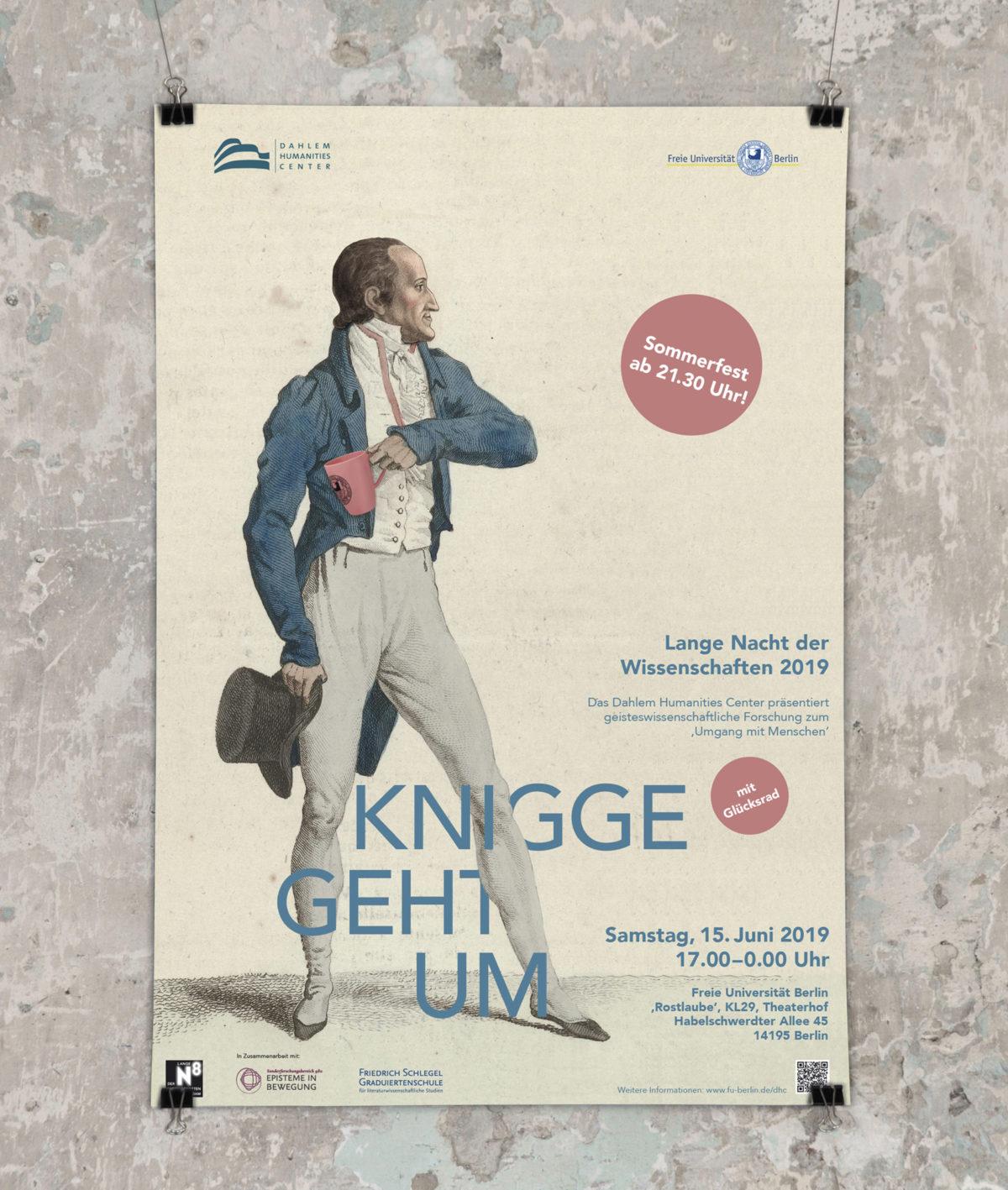 #Kniggegehtum, Poster zur Langen Nacht der Wissenschaften 2019, Dahlem Humanities Center, Freie Universität Berlin