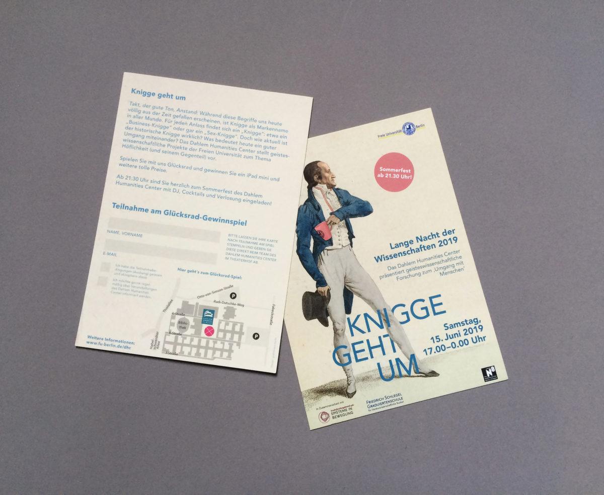 #Kniggegehtum, Flyer zur Langen Nacht der Wissenschaften 2019, Dahlem Humanities Center, Freie Universität Berlin
