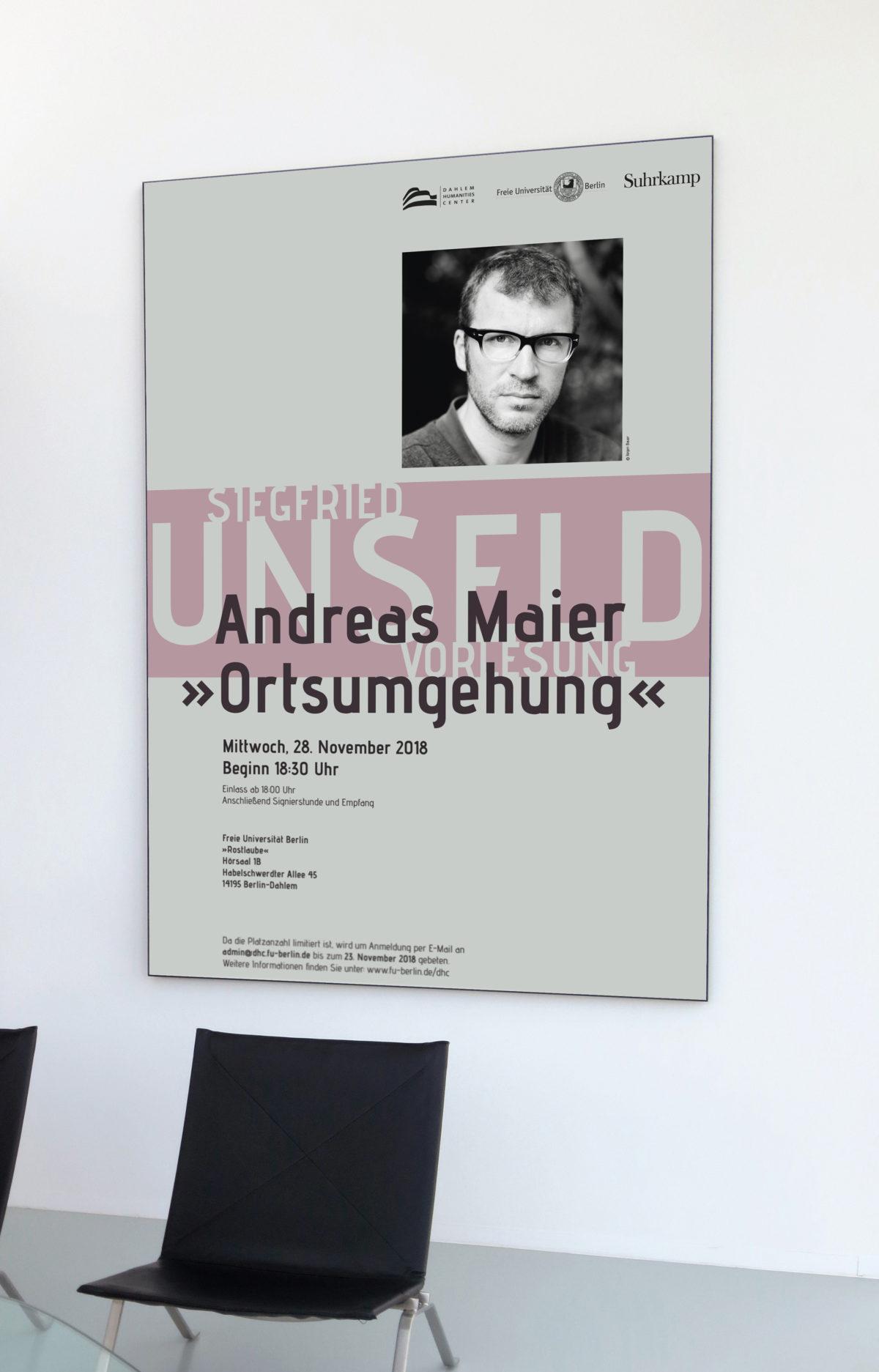 Plakat, Unseld-Vorlesung mit Andreas Maier, Dahlem Humanities Center, Freie Universität Berlin