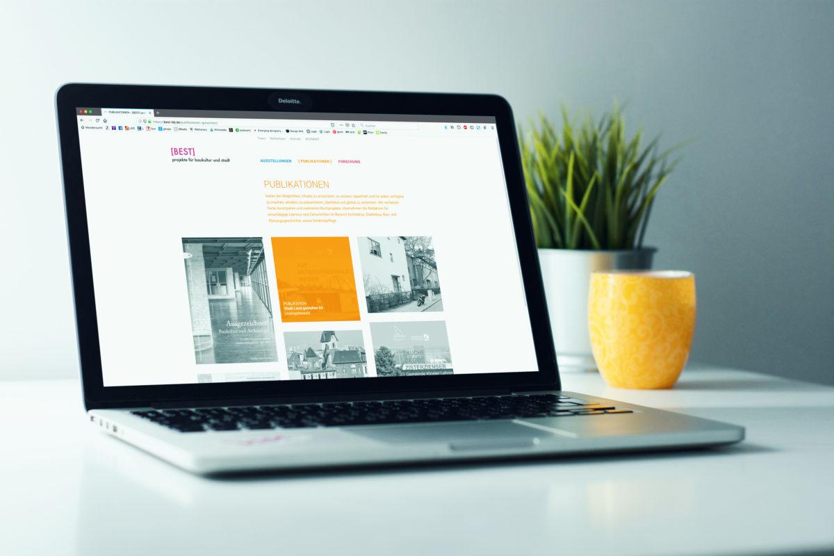 Redesign der Webseite für BEST Architektinnen, Desktop Ansicht