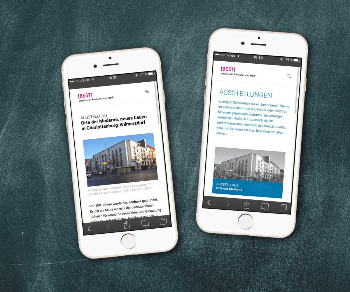 Redesign der Webseite für BEST Architektinnen, Responsive Ansicht