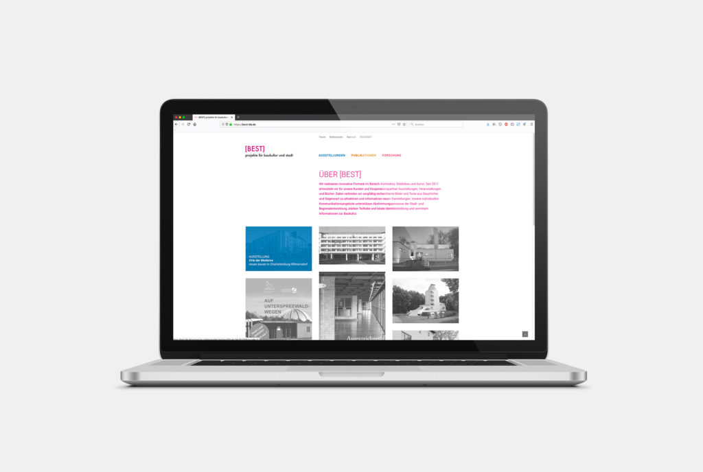 Redesign der Webseite für BEST Architektinnen, Desktop Ansicht, Vorschaubild