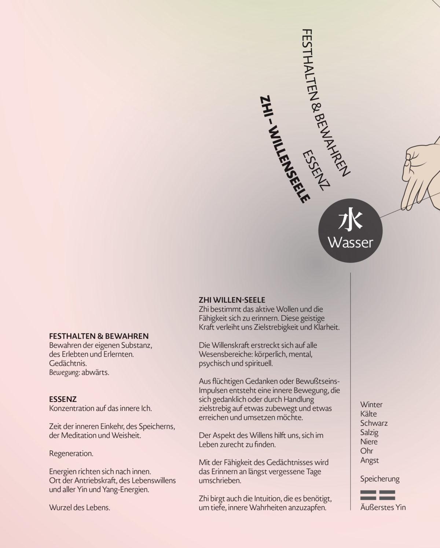 Infografik-Poster über die fünf geistigen Aspekte der Wandlungsphasen Wu Shen mit Beschreibungen des Charakters und des Seelenaspektes, Detail Wasser