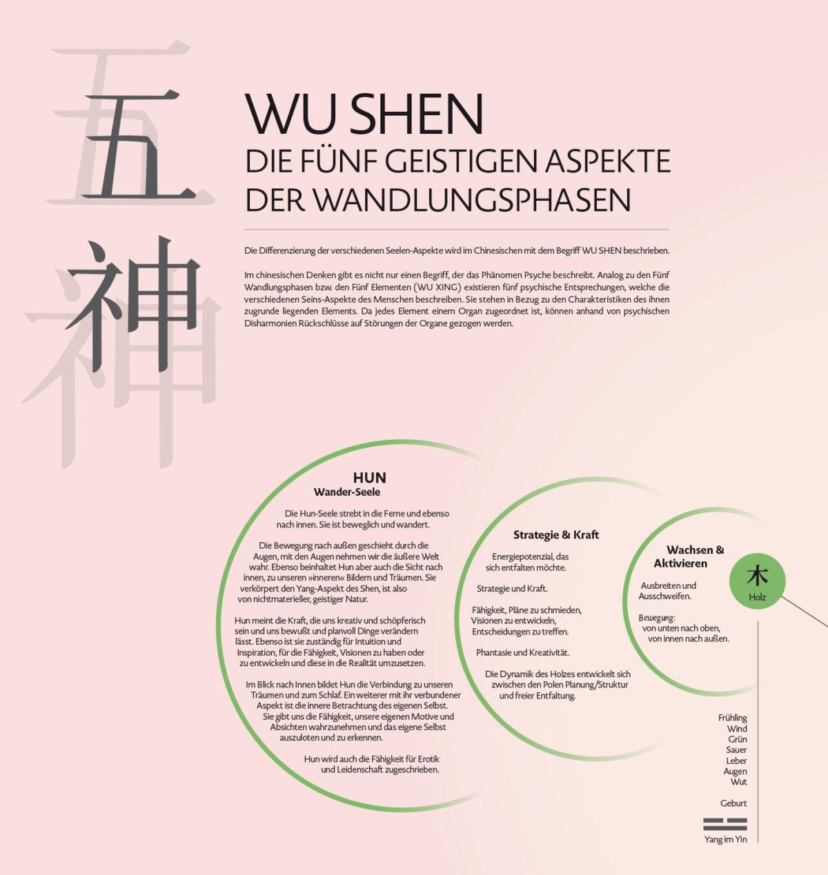 Infografik-Poster über die fünf geistigen Aspekte der Wandlungsphasen Wu Shen mit Beschreibungen des Charakters und des Seelenaspektes, Element Holz