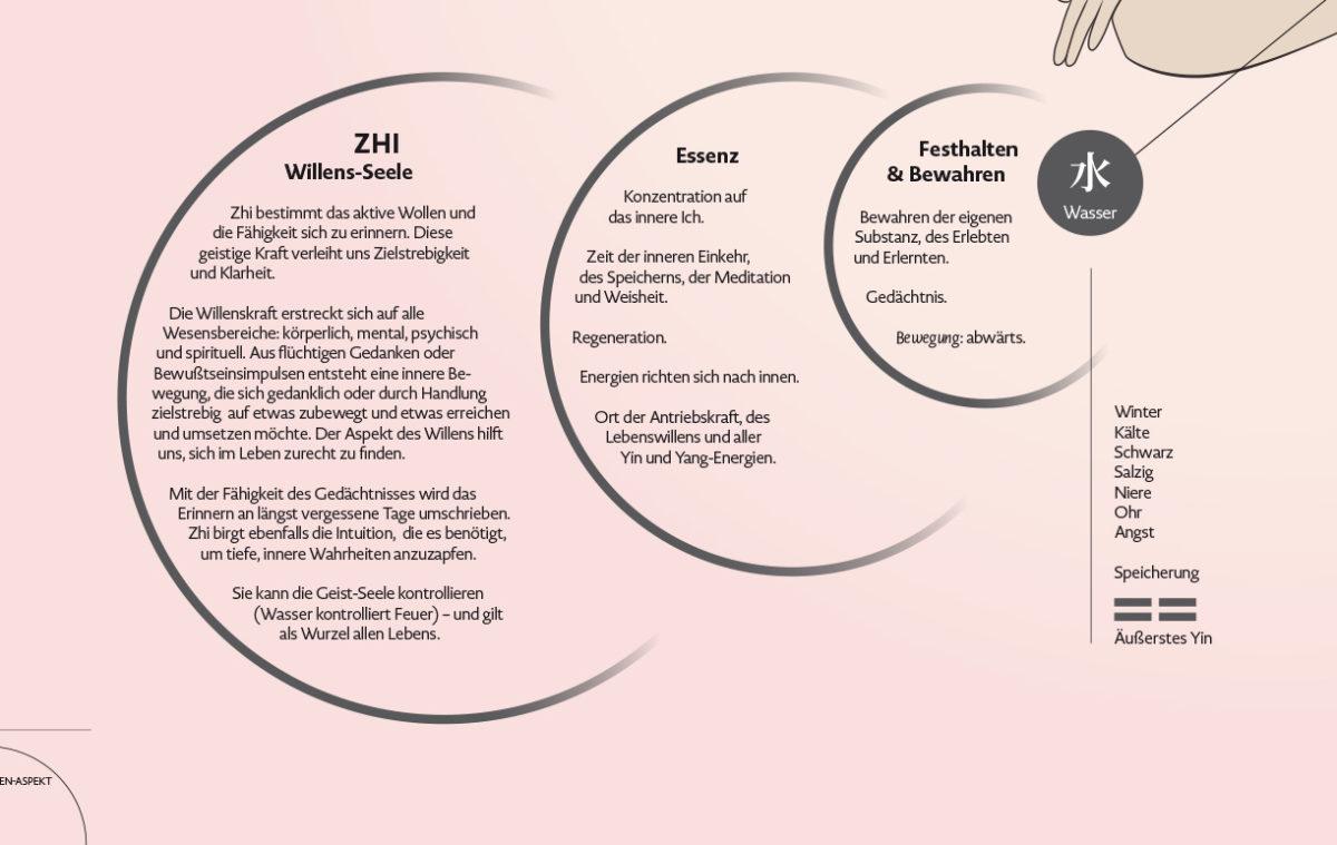 Infografik-Poster über die fünf geistigen Aspekte der Wandlungsphasen Wu Shen mit Beschreibungen des Charakters und des Seelenaspektes, Element Wasser