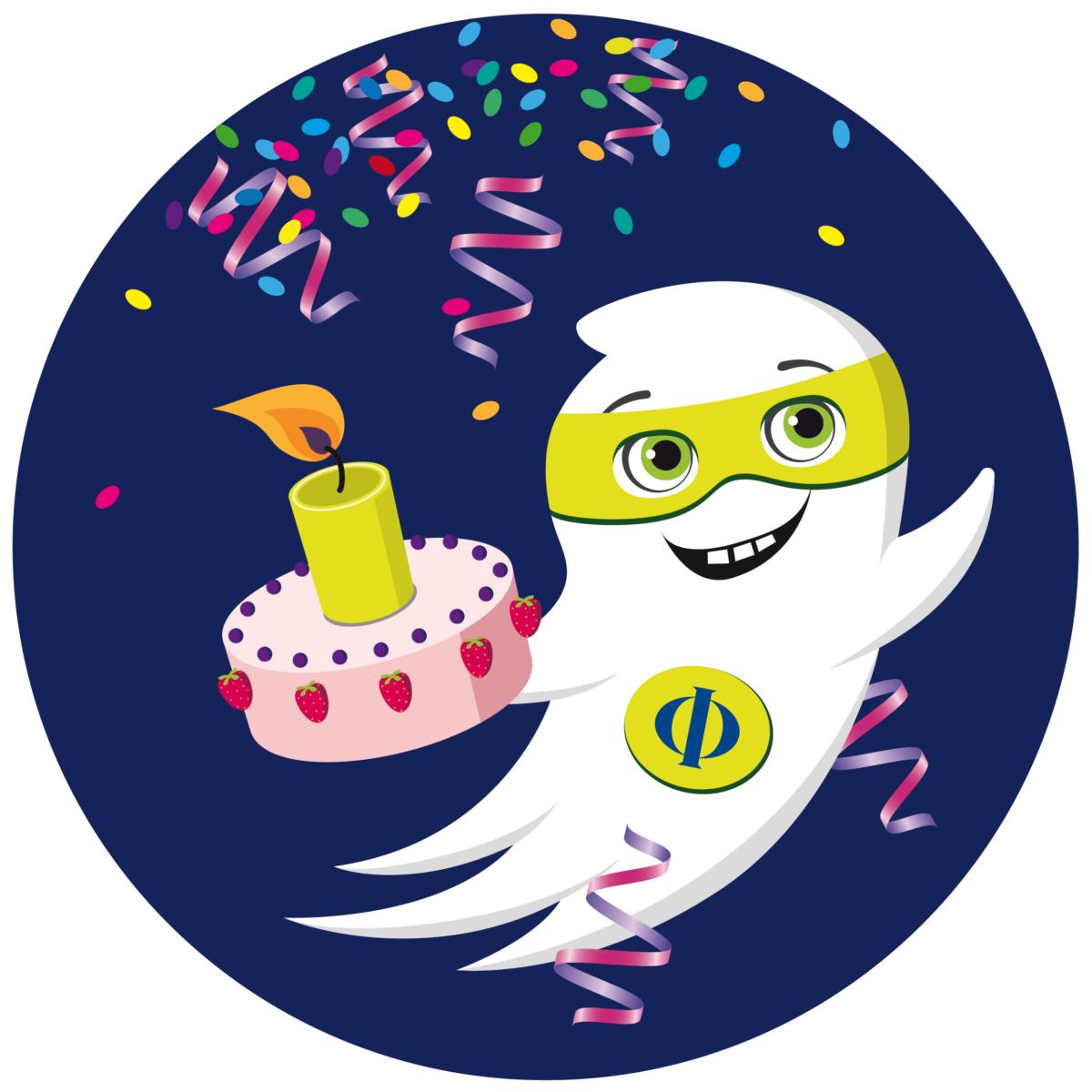 Maskottchen Geist Phi des FB Philosophie und Geisteswissenschaften der FU Berlin mit Torte und Luftschlagen, Geburtstagsedition