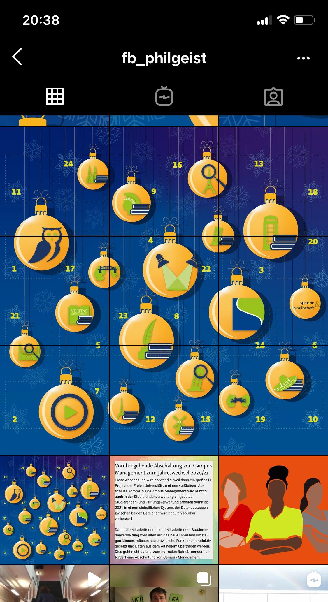 Digitaler Adventskalender des FB Philosophie und Geisteswissenschaften der FU Berlin, ganze Ansicht auf Instagram