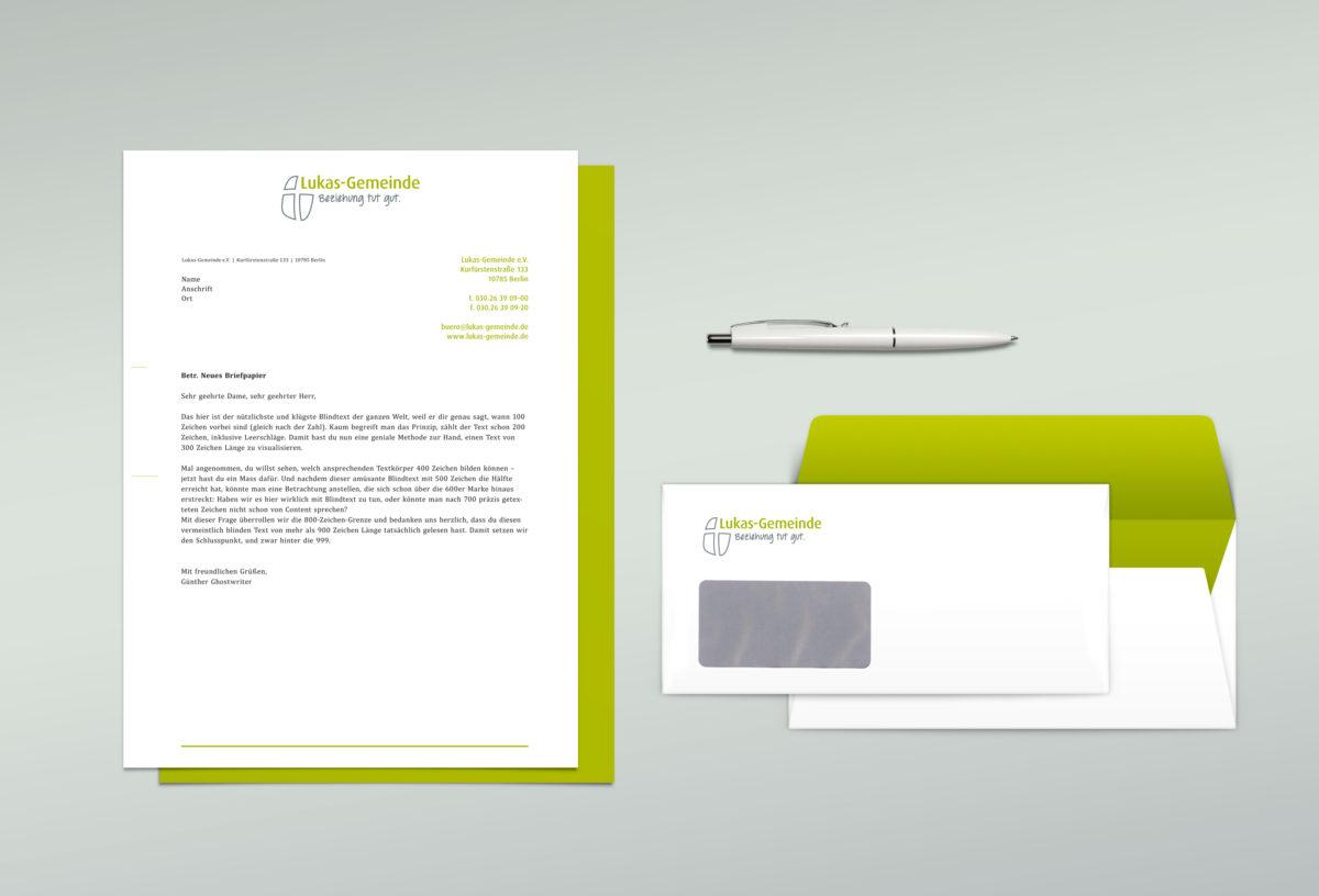 Briefpapier, Logo-Redesign für Lukas-Gemeinde Berlin