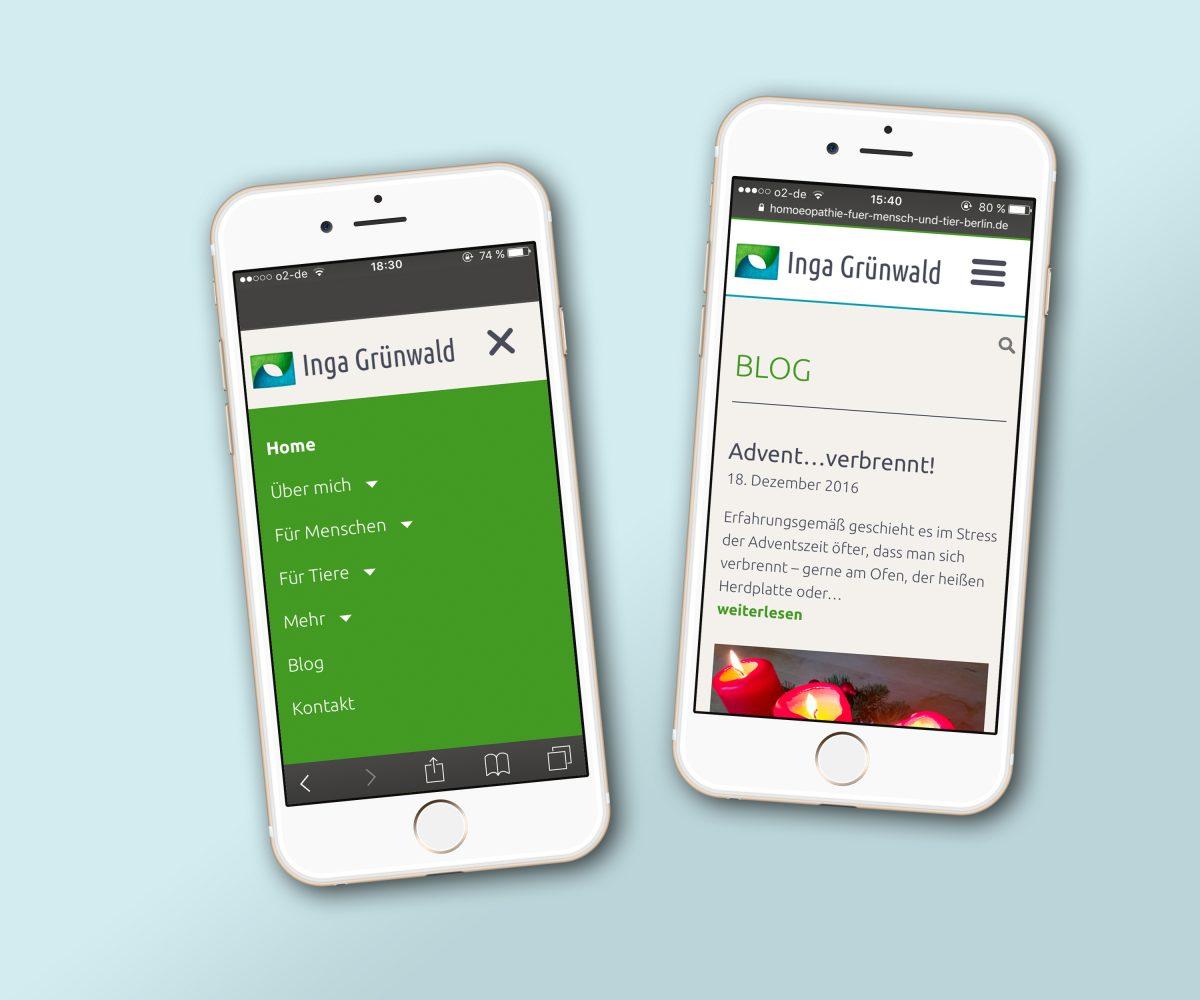 Die Webseite von Inga Grünwald in responsiver Ansicht auf zwei nebeneinander liegenden Smartphones