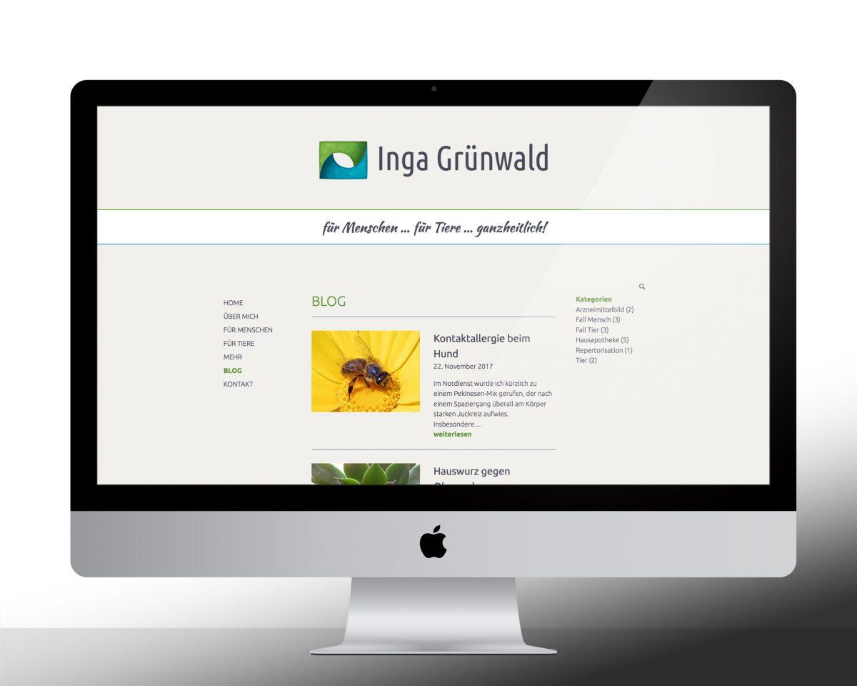 Startbild des Blogs der Webseite von Inga Grünwald auf einem Computermonitor