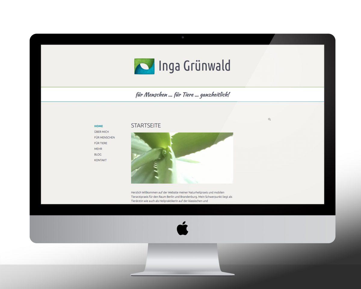 Startbildschirm der Webseite von Inga Grünwald auf einem Computermonitor