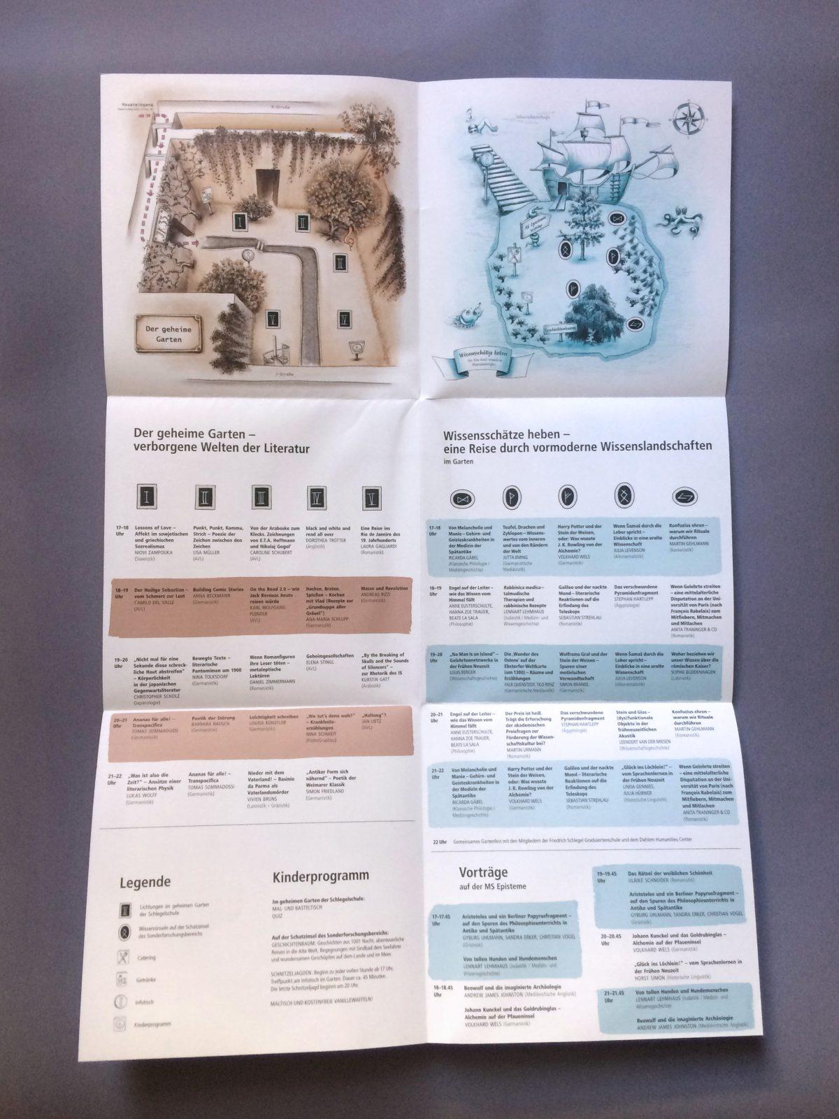"""Aufgefaltetes Programm mit Karten und Übersicht der Veranstaltungen bei der Langen Nacht der Wissenschaften 2018 des SFB 980 """"Episteme in Bewegung"""""""