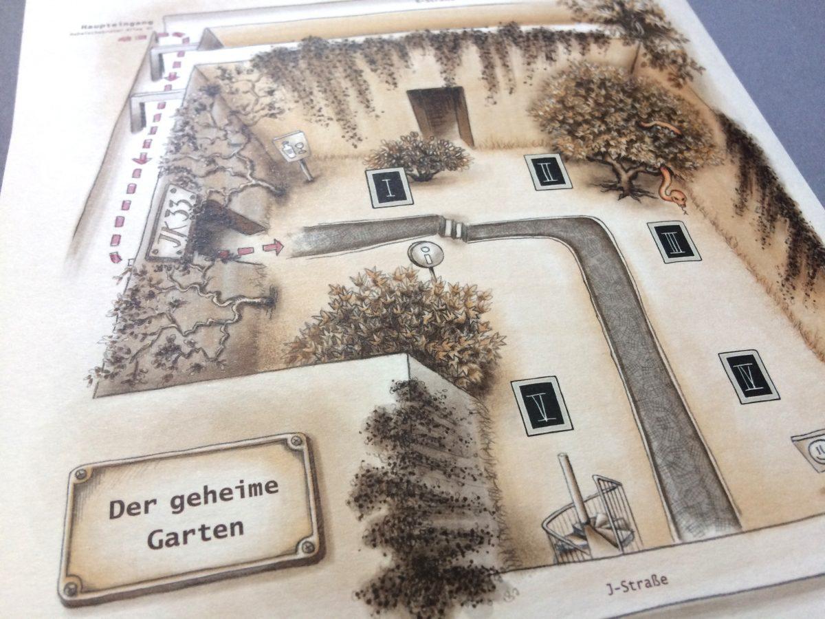 Schatzkarte des Gartens der Friedrich-Schlegel-Graduiertenschule für literaturwissenschaftliche Studien, Lange Nacht der Wissenschaften 2018