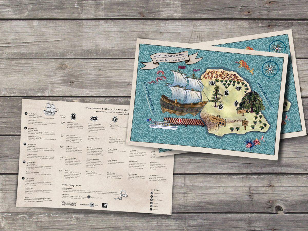 """Schatzkarten mit Insel und Segelschiff, Event beim SFB 980 """"Episteme"""" zur Langen Nacht der Wissenschaften 2015, Freie Universität Berlin"""