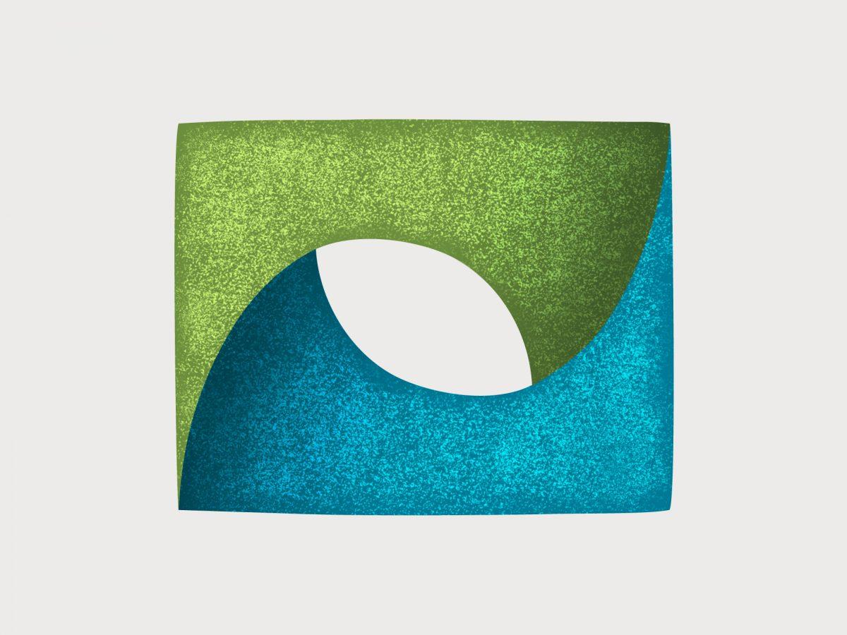 Signet des Logos, Farben grün und blau