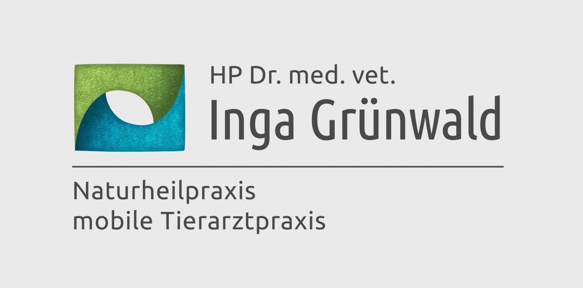 Signet und Schriftzug, Logo Inga Grünwald, Farben Grün und Blau