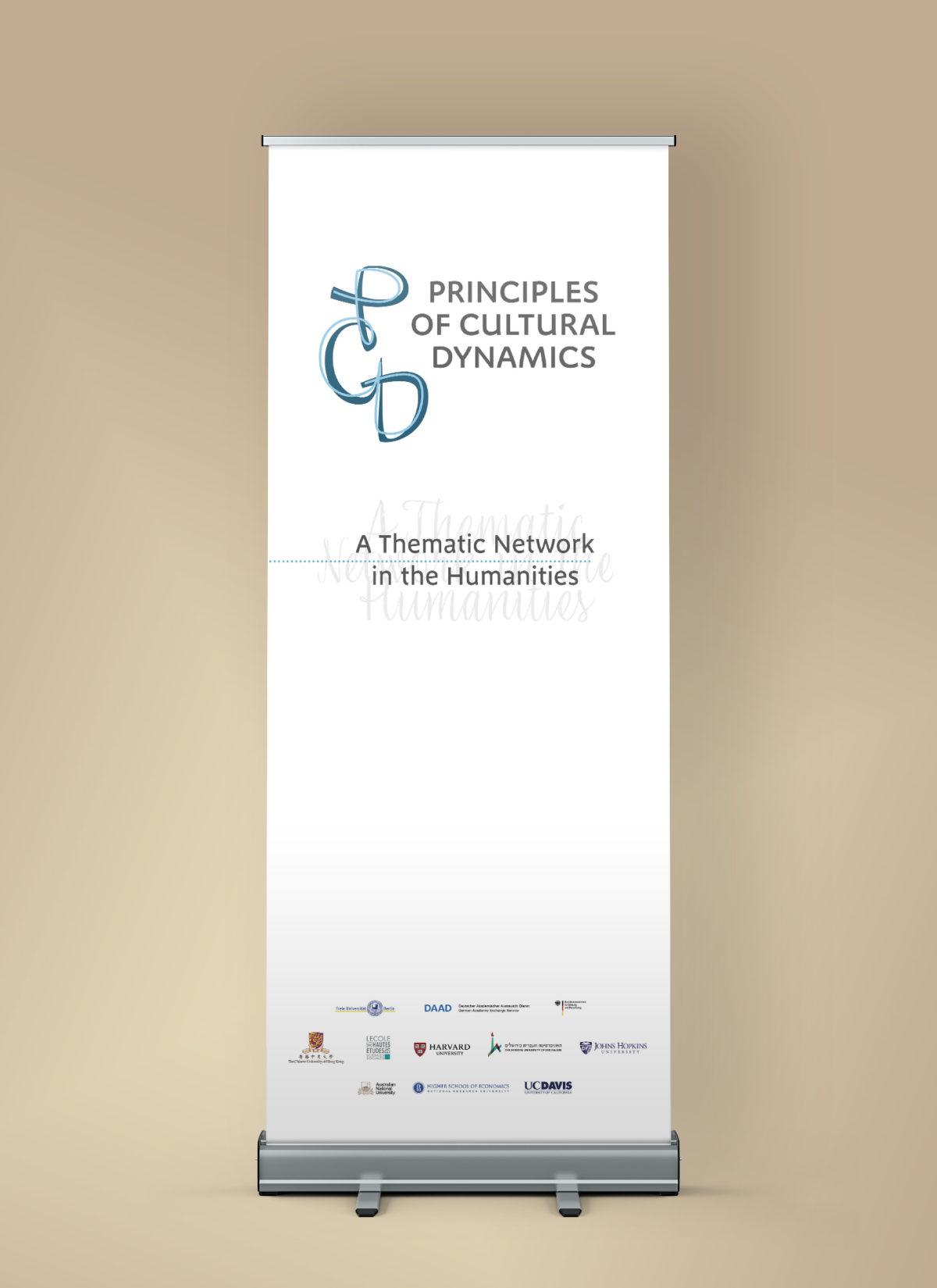 "RollUp mit dem Logo des Thematischen Networks ""Principles of Cultural Dynamics"""