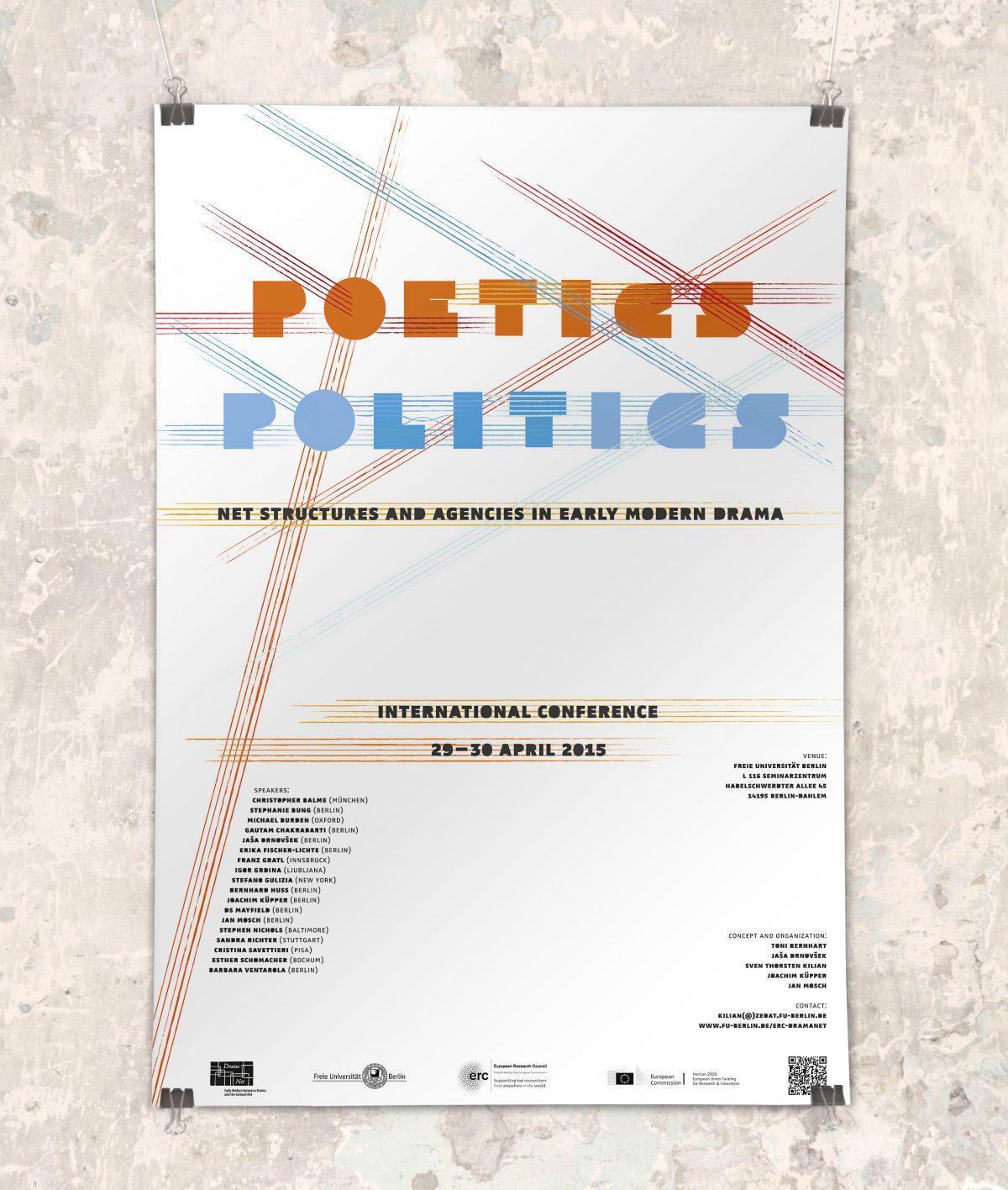 """Ansicht des Posters der internationalen Konferenz """"Poetics Politics"""" von DramaNet, 2015, Freie Universität Berlin"""