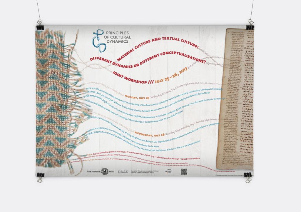 Plakat mit einem Stück Stoff und einem Stück Papier, die beide durch geschwungene Zeilen verbunden sind, Plakatgestaltung für den Workshop von Principles of Cultural Dynamics, Freie Universtität Berlin