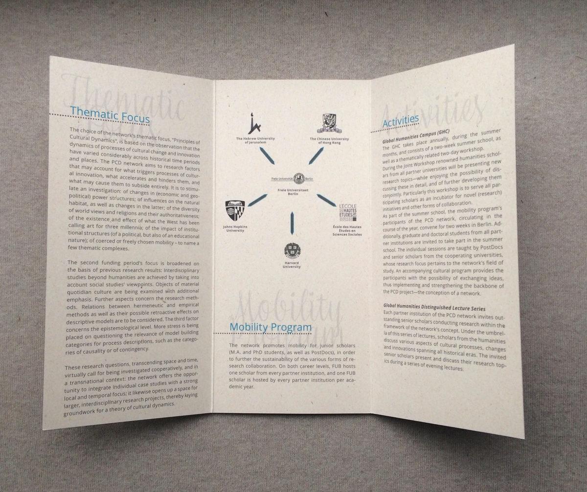 Innenteil des Infofolders, Principle of Cultural Dynamics, Freie Universität Berlin