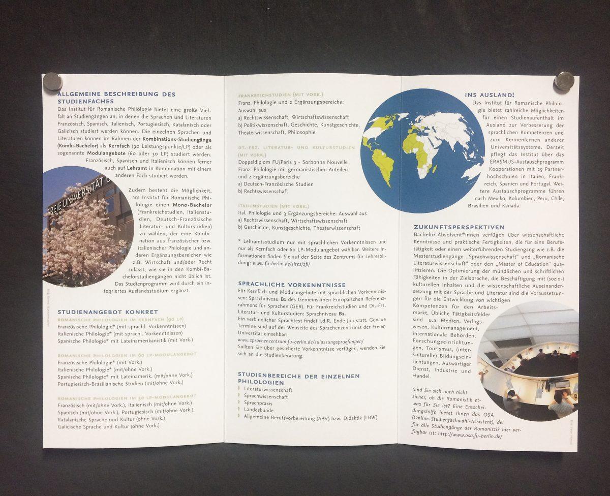 Innenteil mit Texten, Infofolder für das Institut für Romanische Philologie der Freien Universität Berlin
