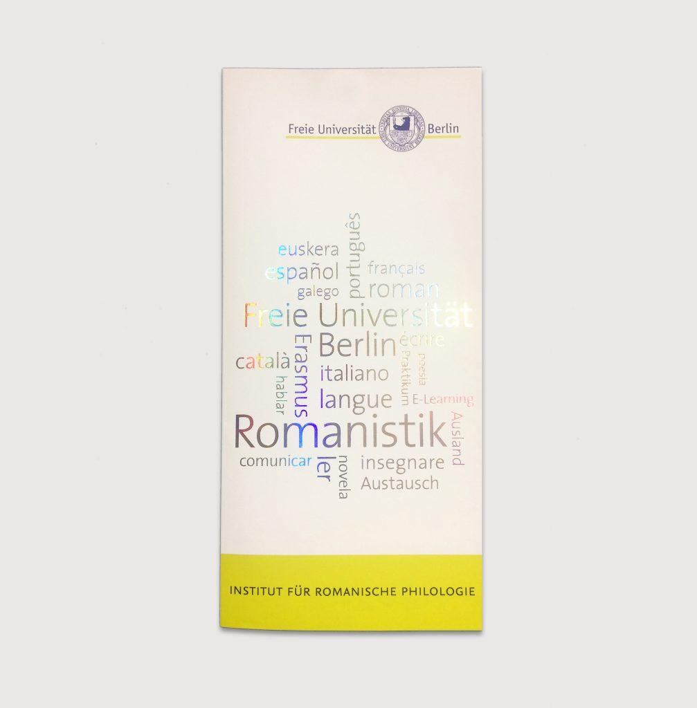Vorschaubild, Wordcloud mit Laserfolie, Infofolder für das Institut für Romanische Philologie der Freien Universität Berlin