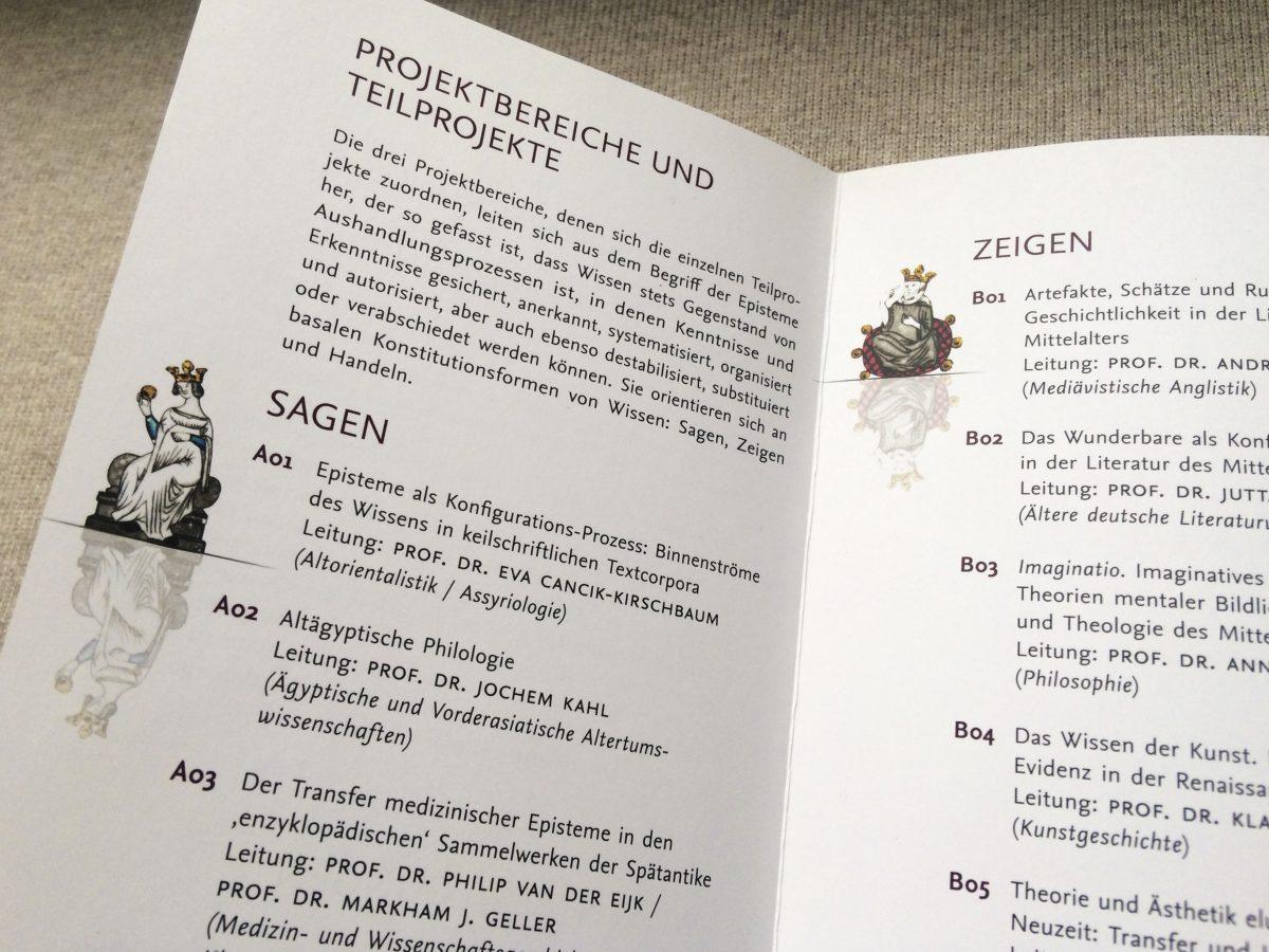 """Innenansicht des neu gestalteten Folders des SFB 980 """"Episteme in Bewegung"""", Freie Universität Berlin"""