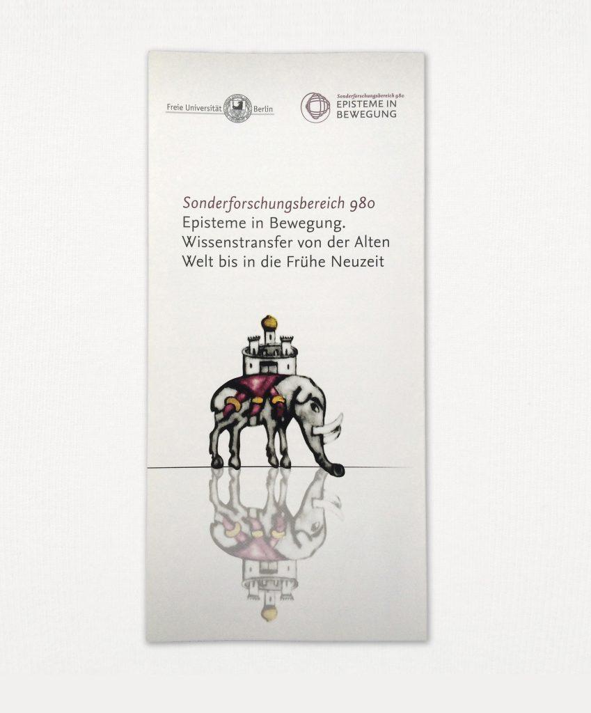 """Vorschaubild des neu gestalteten Folders des SFB 980 """"Episteme in Bewegung"""", Freie Universität Berlin"""