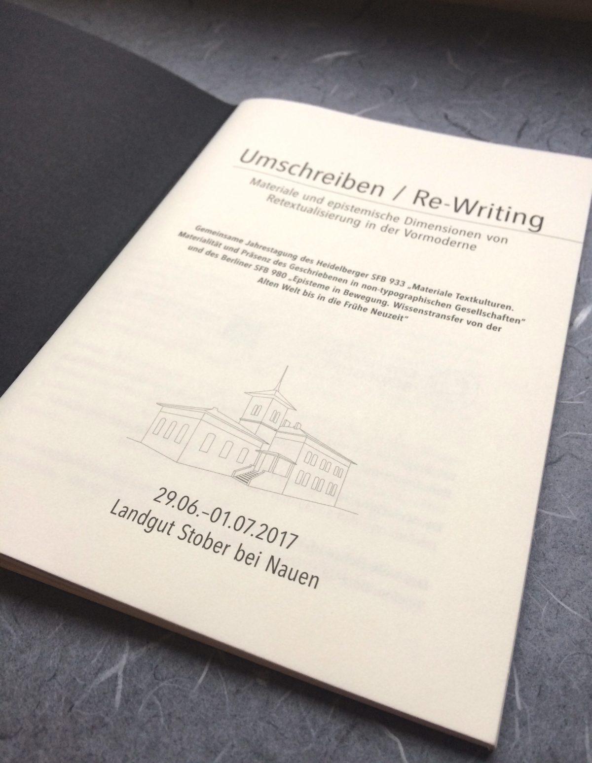 """Schmutztitel des Programmheftes der 5. Jahrestagung des SFB 980 """"Episteme in Bewegung"""" / Freie Universität Berlin"""