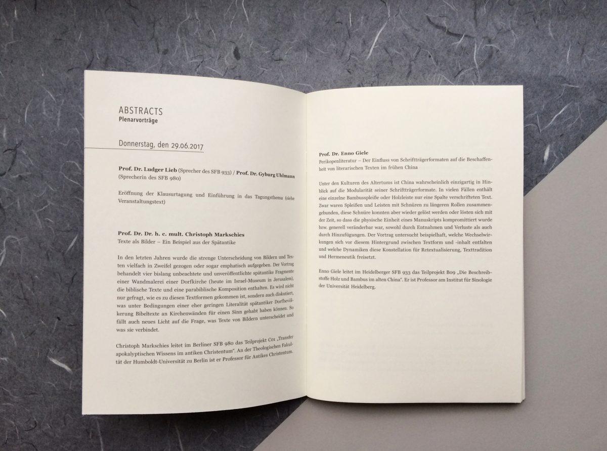 """Innenteil mit Texten, Programmheft der 5. Jahrestagung des SFB 980 """"Episteme in Bewegung"""" / Freie Universität Berlin"""