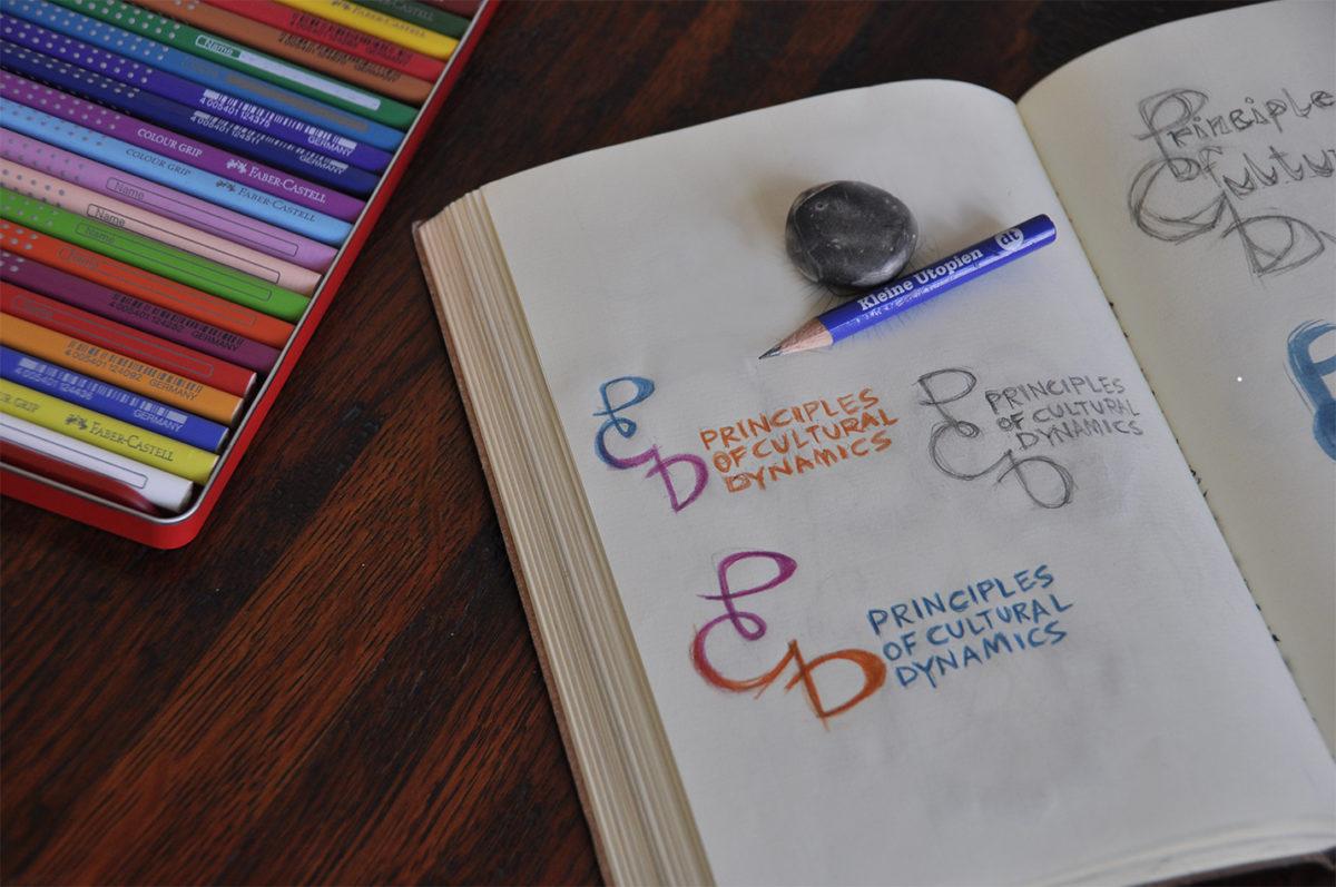Skizze mit verschiedenen Entwürfen zum Logo für Principles of Cultural Dynamics, Freie Universität Berlin