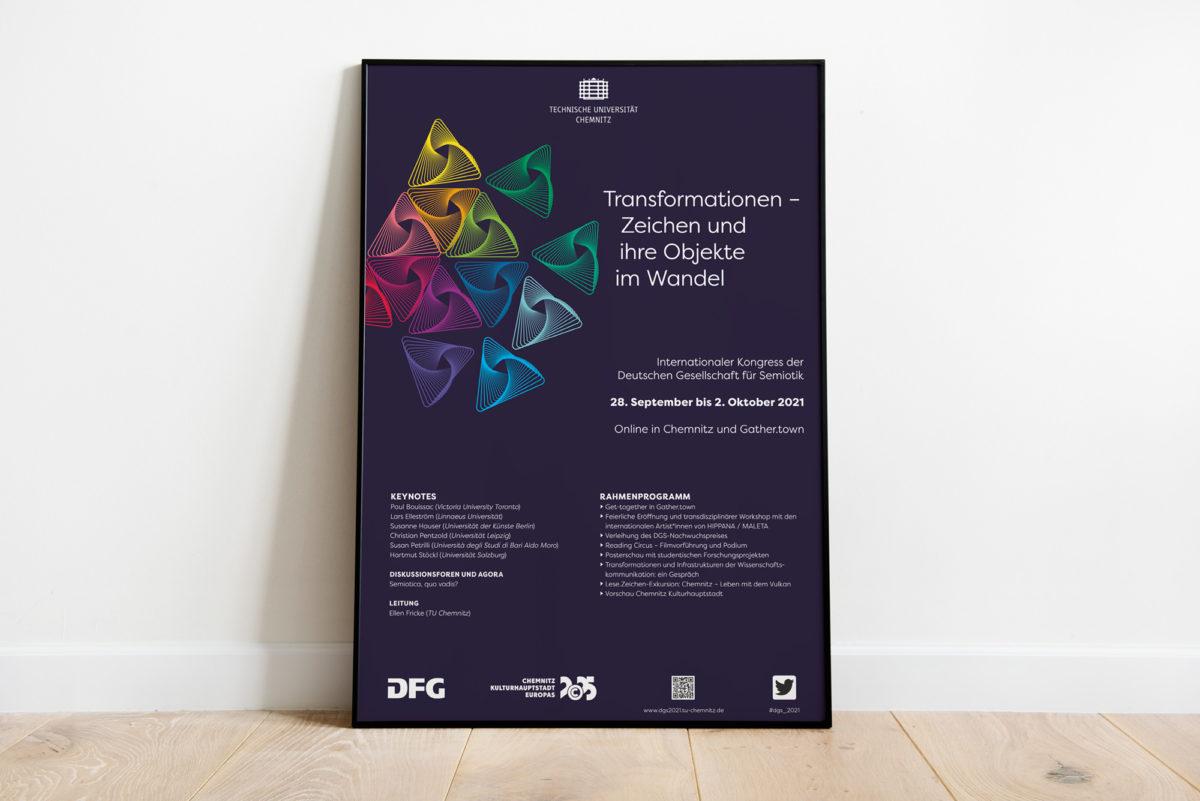 Plakat für den Kongress der Deutschen Gesellschaft für Semiotik 2021, TU Chemnitz, Transformationen - Zeichen und ihre Objekte im Wandel